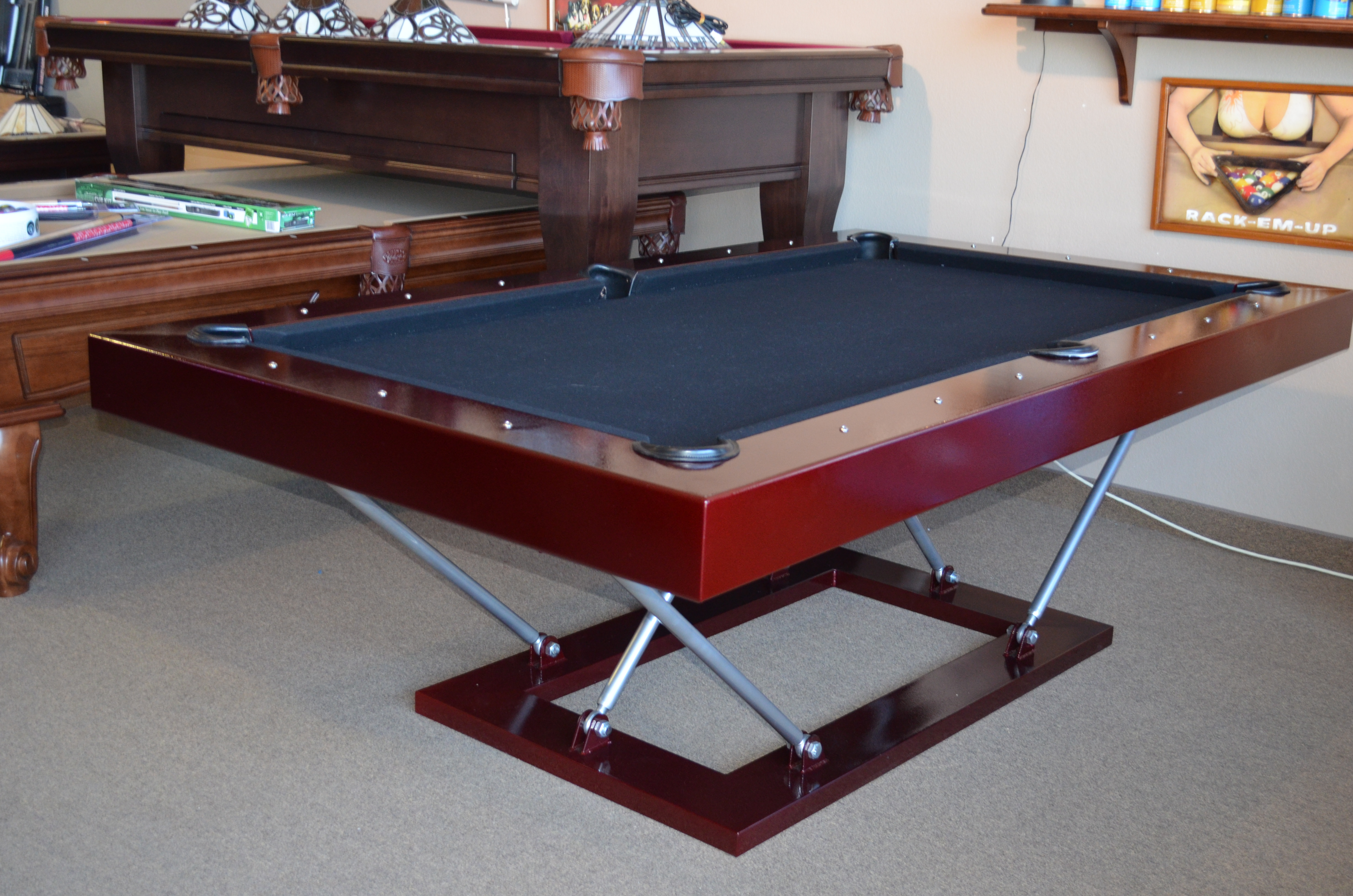 Metal pool table home design ideas and pictures for 10 pool table